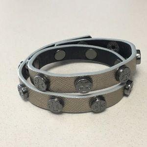 Tory Burch Silver Studded Wrap Bracelet